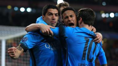 Lionel Messi, Luis Suarez and Neymar celebrate goal