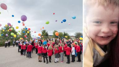 Balloons: Pupils at Bramble Brae marked Lucas' birthday.