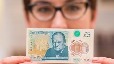 The new plastic £5 note featuring Sir Winston Churchill.