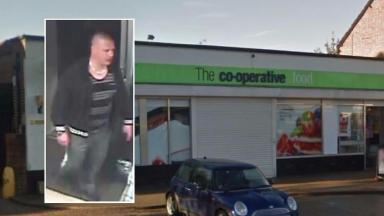Police would like to speak to this man in connection with the assault outside this Co-op in Milton Keynes.
