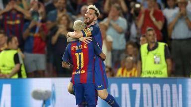 Celebration: Neymar and Messi enjoy Barcelona's 7-0 win over Celtic.
