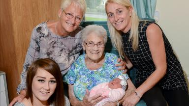 The Downie family from Dunfermline who are now five generations of females after the birth of Orla Downie.