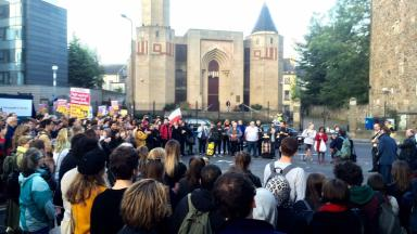 Rally: Crowds gather outside Edinburgh Central Mosque in an act of solidarity after a hate crime.