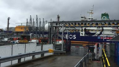 Ineos Insight shale gas tanker docked at Grangemouth