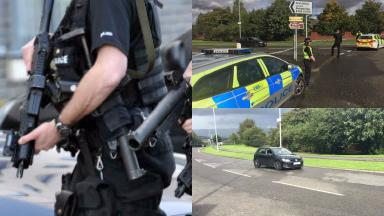 Scene: Volkswagen tyres shot at by police in Robroyston, Glasgow.