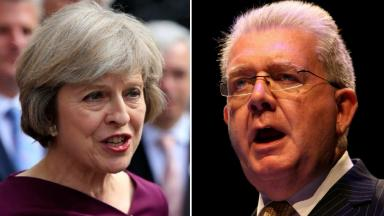 Theresa May and Michael Russell also known as Mike Russell