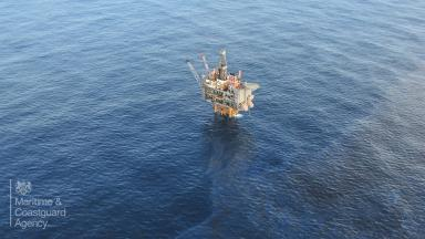 North Sea: The Clair platform during the leak.