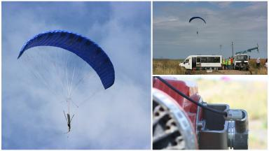 Kite power: A tether turns a turbine 750m on the ground below.