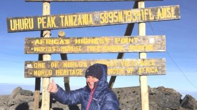 Jane Sutton at the summit