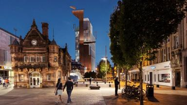 Hotel: Artist's impression of the view from St Enoch Square.