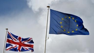 British flag and EU flag
