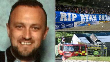Rangers fan killed in bus crash Ryan Baird. Composite of PA images and handout