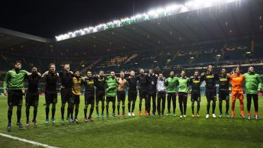 Celebration: Monchengladbach's players at full time.