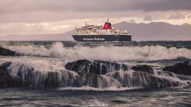 Arran ferry leaving Ardrossan harbour by Sylvan Buckley‎