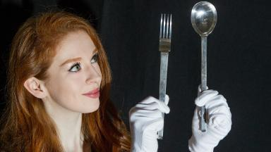 Silver service: Esme Rankin with the valuable cutlery.