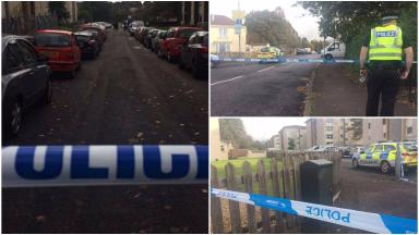 Collage of police at Banner Drive in Knightswood after hit-and-run attempted murder.  Image from STV