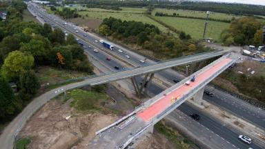 M74: Aerial view of Bothwellpark Road Bridge ahead of demolition.
