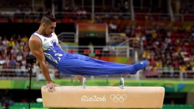 Gymnast Louis Smith in action for Team GB at the Rio Olympics