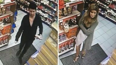 CCTV: The man and woman in the nearby Tesco Express store.