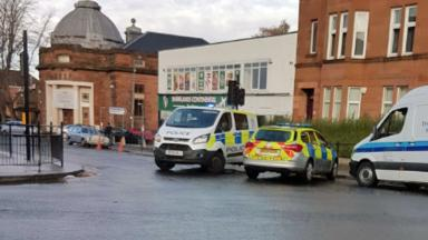 Evacuation: Police on Moss Side Road as Shawlands Academy evacuated.