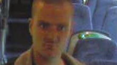 CCTV: Police are hunting the man over attack on train to Stirling.