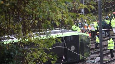 The tram overturned in Croydon.