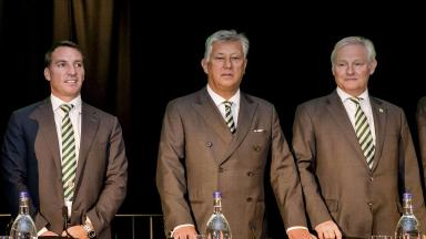 AGM: Brendan Rodgers, Peter Lawwell and Ian Bankier.