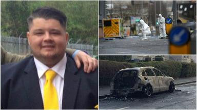 Euan Johnston who was shot dead in Scotland Street Glasgow. Image from mother's FB. Car image from STV