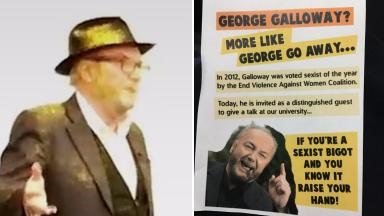 Glitterbomb: Mr Galloway was attacked with glitter and leaflets were handed out.
