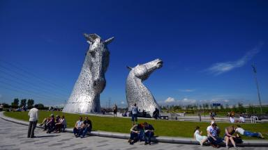 Quality generic GV of the Kelpies statues near Falkirk