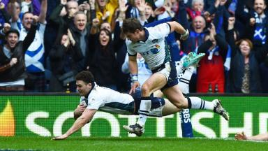 Try bonus: Duncan Taylor flies across the line to score in the Six Nations
