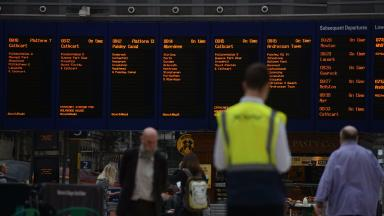 Glasgow Central Station Scotrail rail staff timetable quality generic