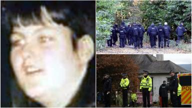 Police at house and garden where Margaret Fleming lived in Inverkip. Images from SWNS