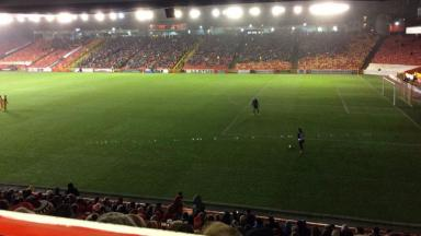 Lights out: Two floodlights in the Merkland End failed.