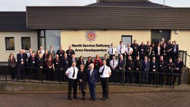 Revamp: Staff at the fire service's Aberdeen HQ.