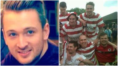 Collage of murder victim Shaun Woodburn, with his former team Bonnyrigg Rose FC (top right)