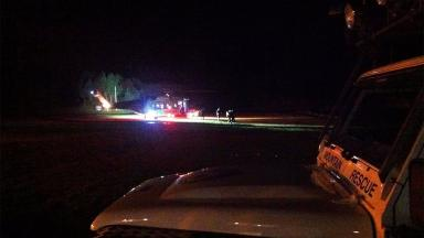 Rescue: Hiker was airlifted to hospital for treatment.