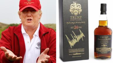 Whisky: Donald Trump signed the bottle to mark the opening of his golf course.