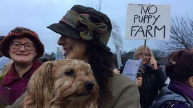 'Puppy farm': Locals protested outside the council meeting.