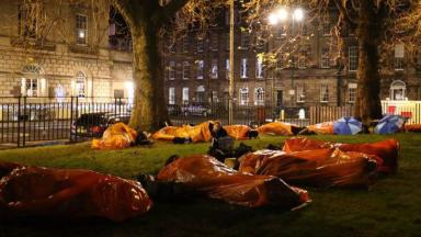 The CEO homeless sleep out in Edinburgh's Charlotte Square in aid of Social Bite's homeless campaign