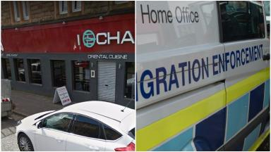 I-Chai: Immigration officers arrest four people at Glasgow restaurant.