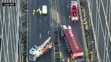 Lorry on the Forth Road Bridge on January 11 2017
