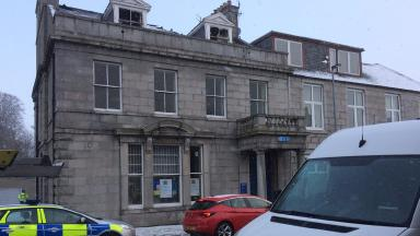 Insch: Bank damaged in accidental fire.