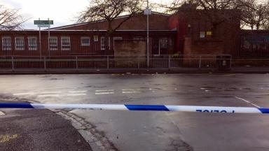 Police tape at St George's Primary School after shooting in Glasgow's Penilee on January 16 2017