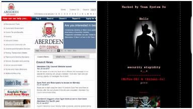 Hacking: Each page of the council website displayed the message on the right.