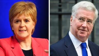 Independence: Nicola Sturgeon and Sir Michael Fallon have clashed.