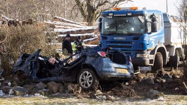 A944: Aftermath of collision in Aberdeenshire.