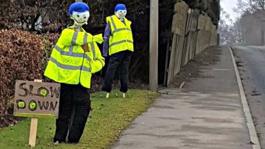 unofficial traffic calming mannequins A94 Forfar Road at Larghan Park uploaded with permission Monday February 20 2017