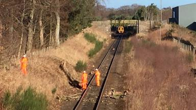 Pictures of train which hit tree in Inverurie, Aberdeenshire, February 2017