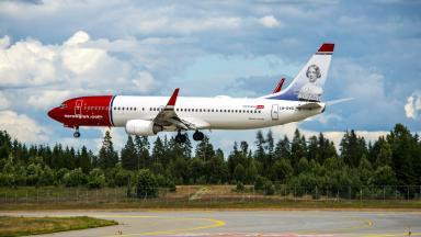 Norwegian Air Shuttle plane landing generic quality image